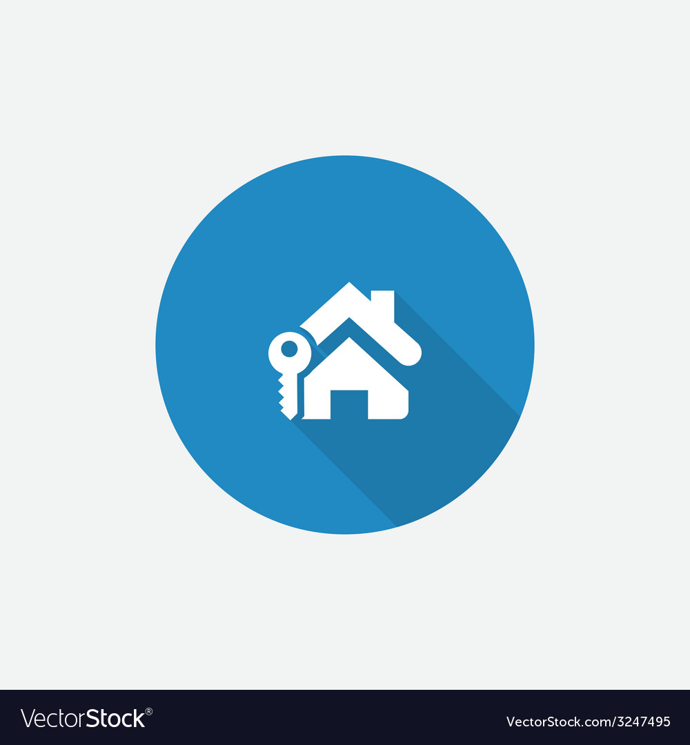 Home key flat blue simple icon with long shadow vector | Price: 1 Credit (USD $1)