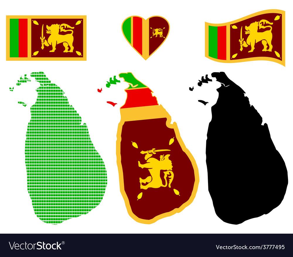 Map of the democratic socialist republic of sri vector | Price: 1 Credit (USD $1)