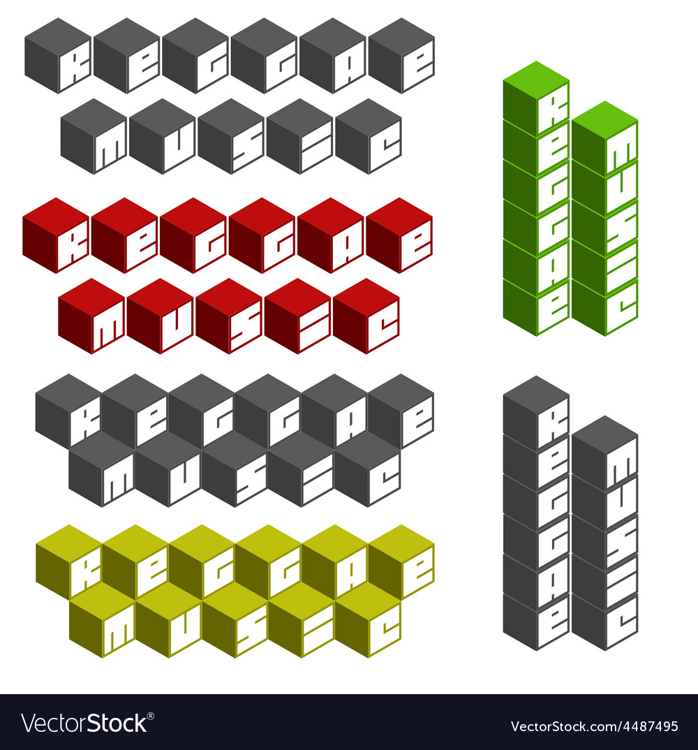 Reggae music cubic square fonts in different color vector | Price: 1 Credit (USD $1)