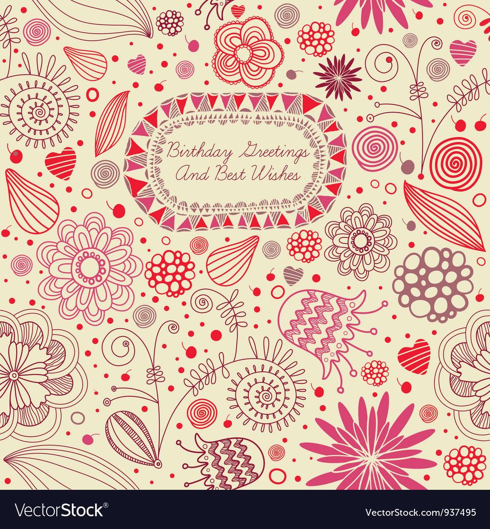 Retro floral birthday card vector | Price: 1 Credit (USD $1)
