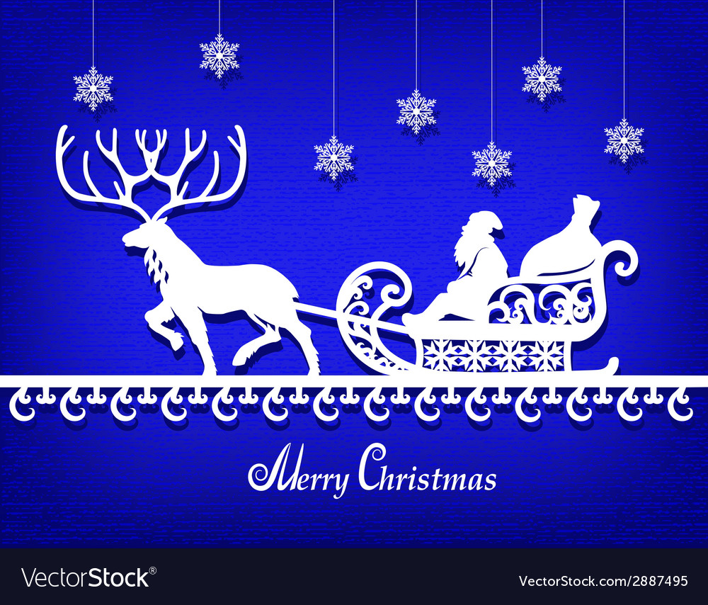 Santa claus paper silhouette on the blue texture vector | Price: 1 Credit (USD $1)
