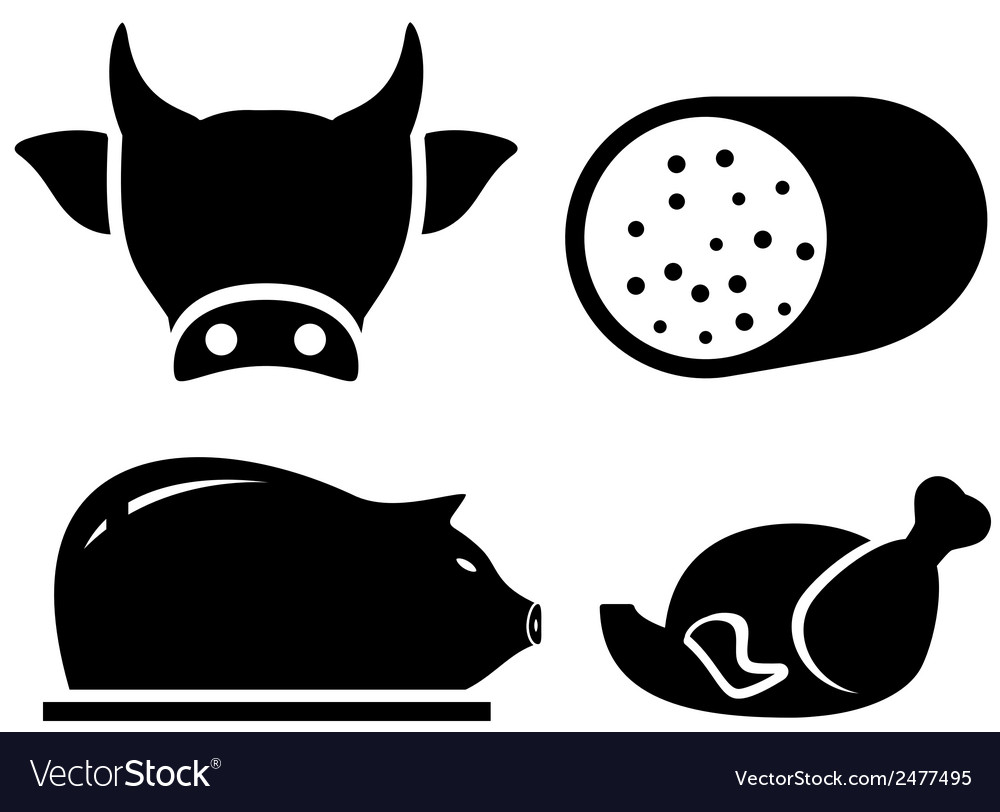 Set food icon for meat production vector | Price: 1 Credit (USD $1)