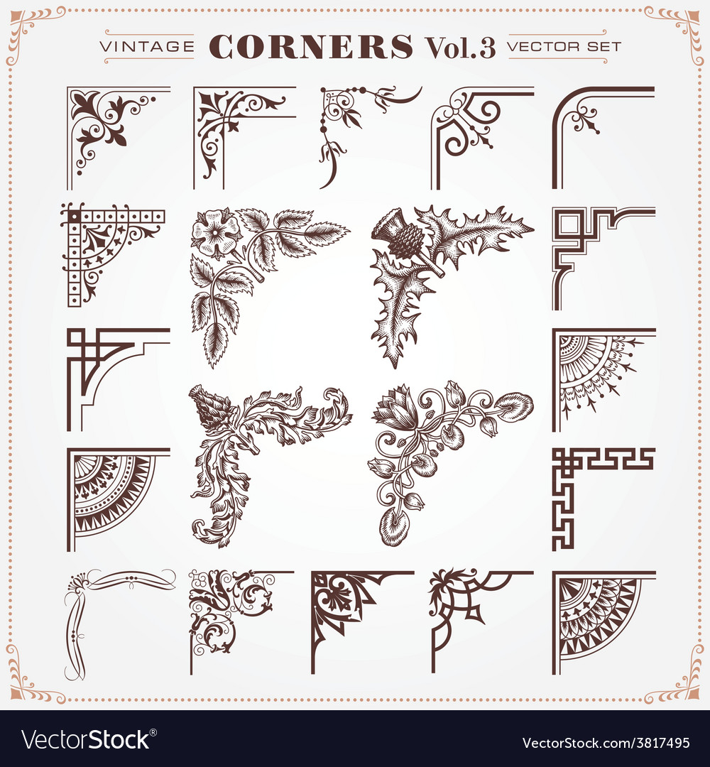 Set of vintage corners 3 vector | Price: 1 Credit (USD $1)