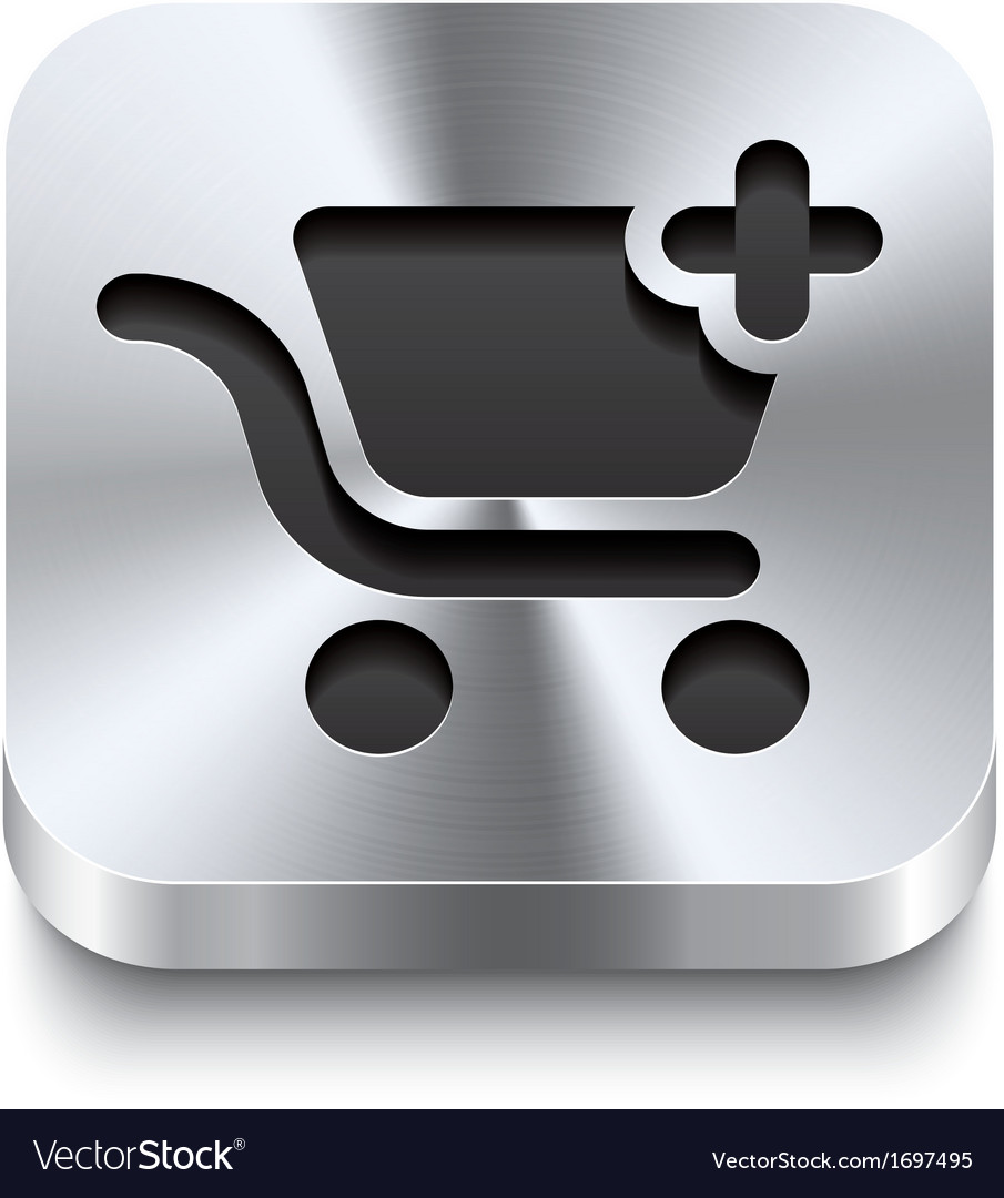 Square metal button - shopping cart add icon vector | Price: 1 Credit (USD $1)