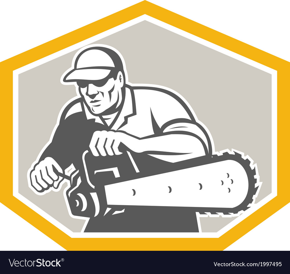 Tree surgeon arborist holding chainsaw shield vector | Price: 1 Credit (USD $1)