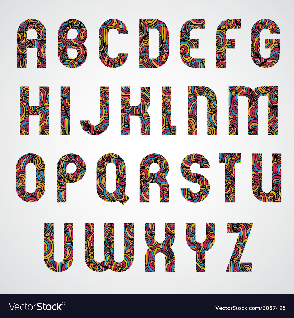Trendy alphabet letters design decorated with vector | Price: 1 Credit (USD $1)