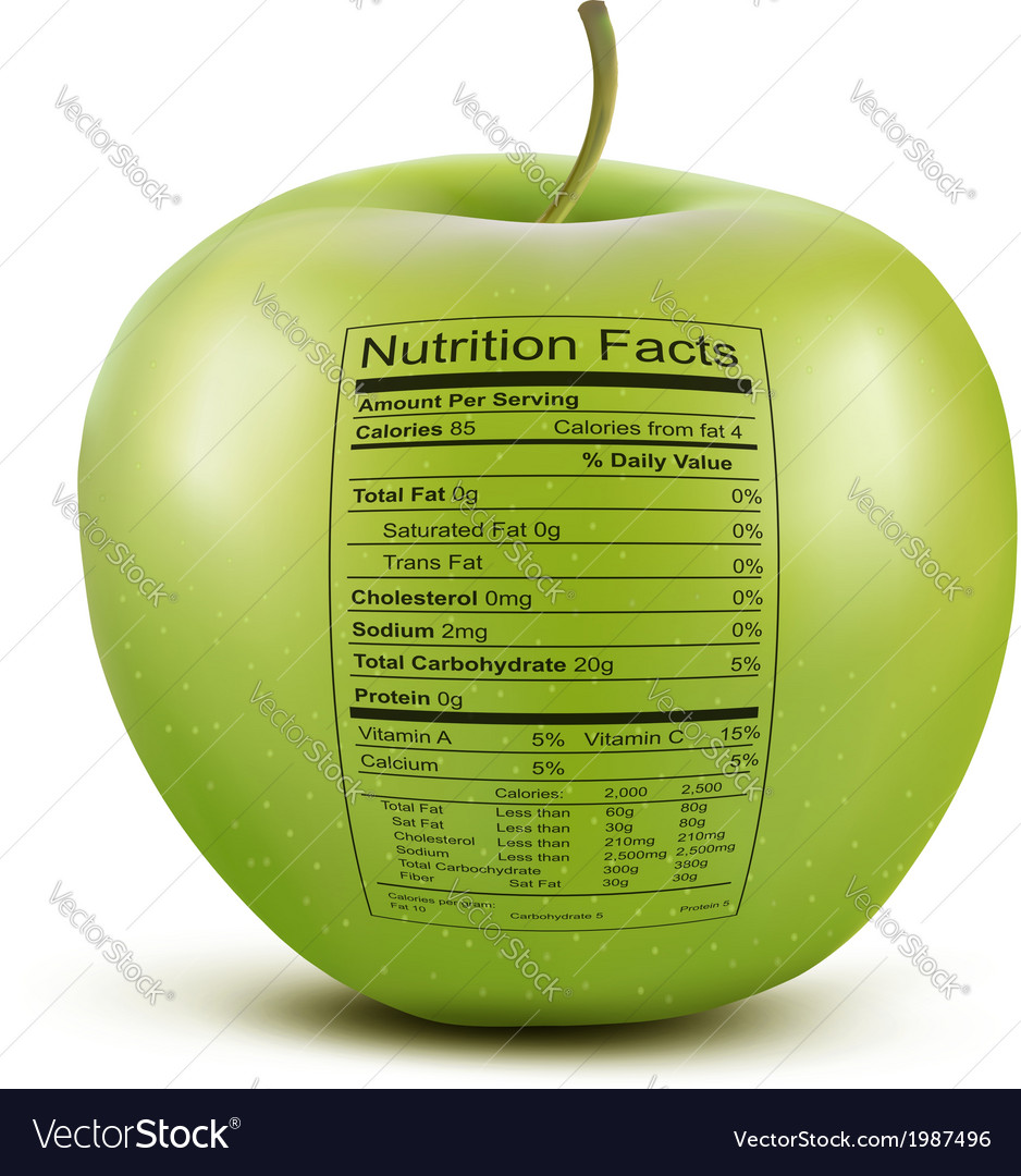 Apple with nutrition facts label concept of vector | Price: 1 Credit (USD $1)
