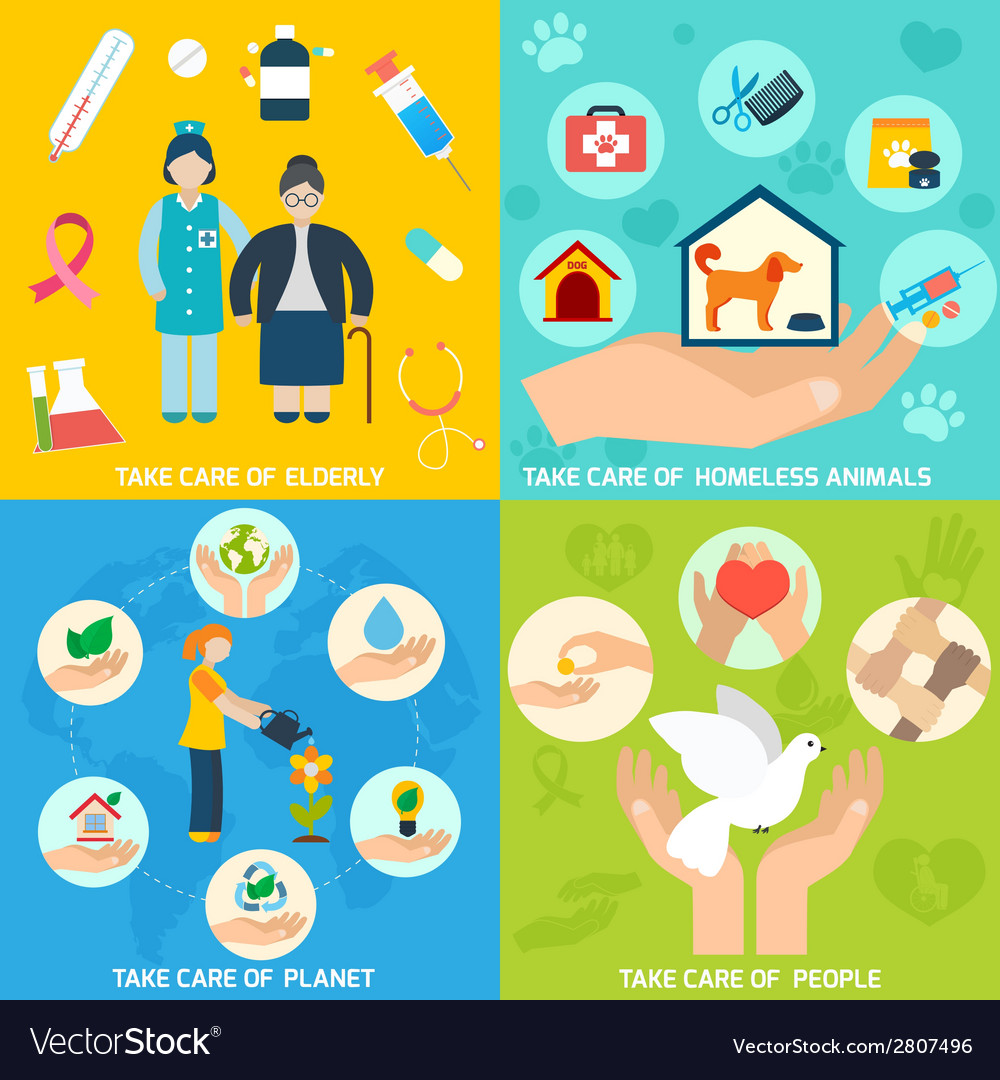 Charity icons set flat vector | Price: 1 Credit (USD $1)
