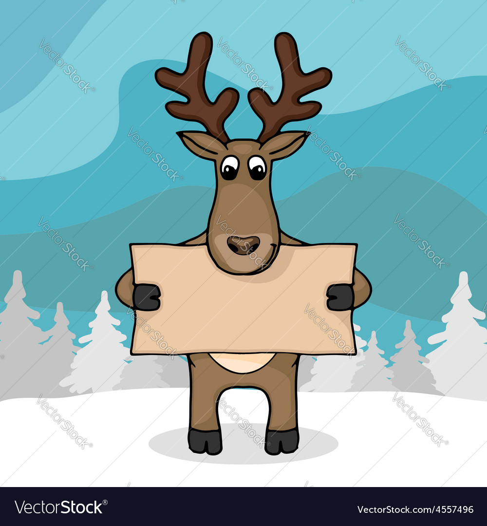 Cute hand drawn deer with empty banner vector | Price: 1 Credit (USD $1)