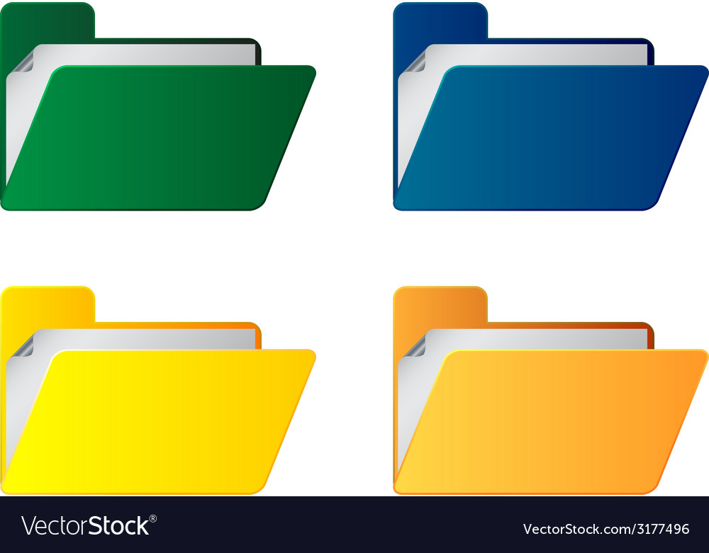 Folders with paper sheet vector | Price: 1 Credit (USD $1)