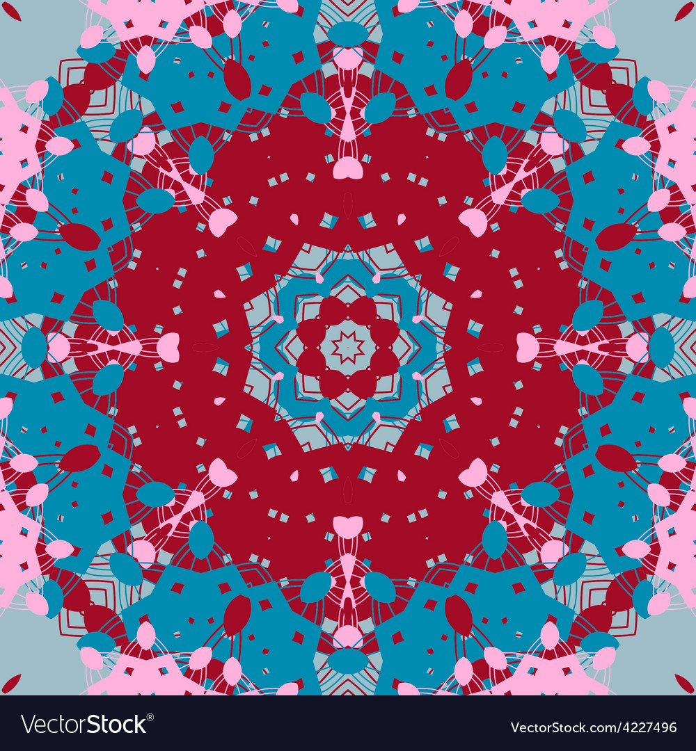 Mandala design symmetry red and blue color vector | Price: 1 Credit (USD $1)