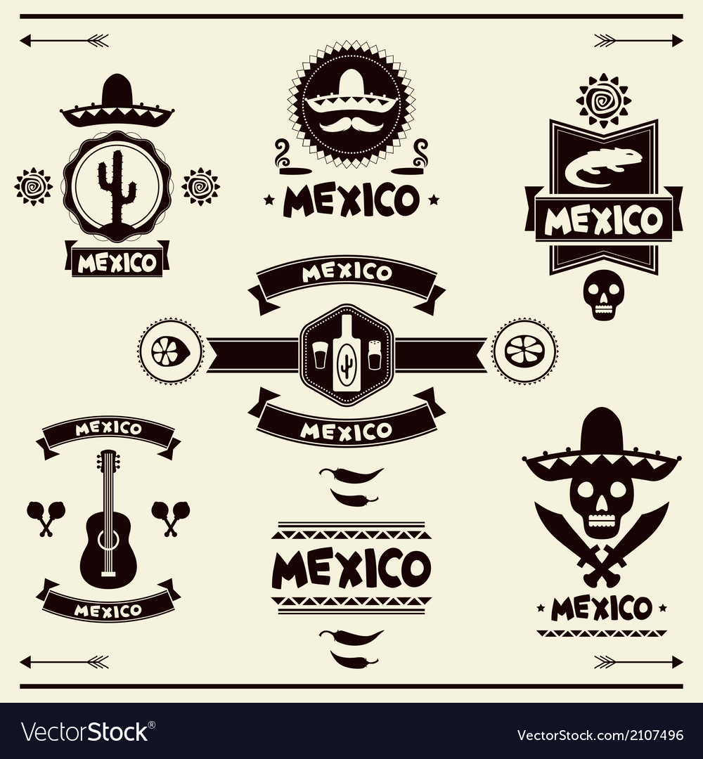Mexican set of labels and stickers with icons vector | Price: 1 Credit (USD $1)