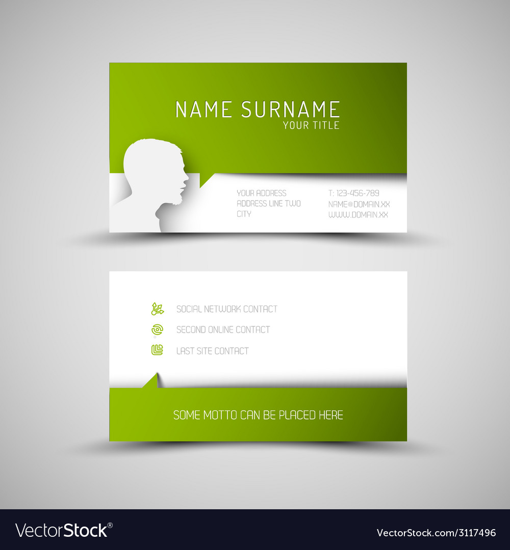 Modern simple green business card template with vector | Price: 1 Credit (USD $1)