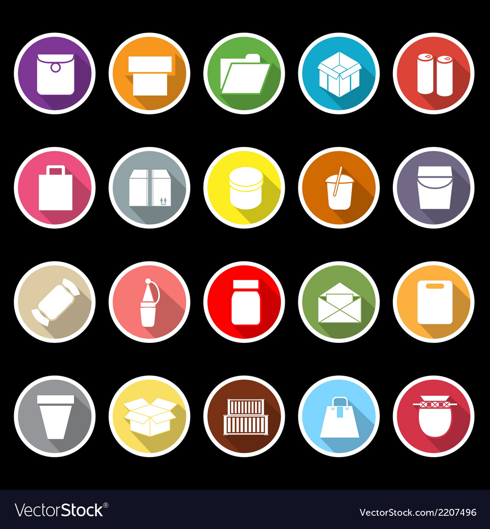 Package icons with long shadow vector | Price: 1 Credit (USD $1)