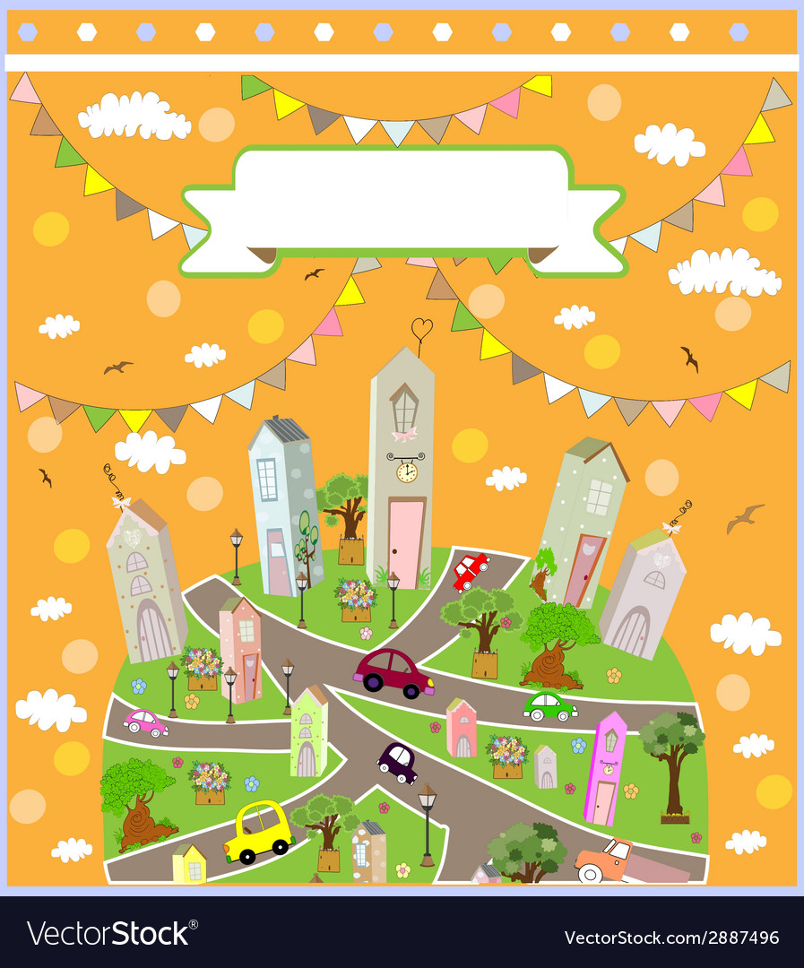 Pattern with cute houses background vector | Price: 1 Credit (USD $1)