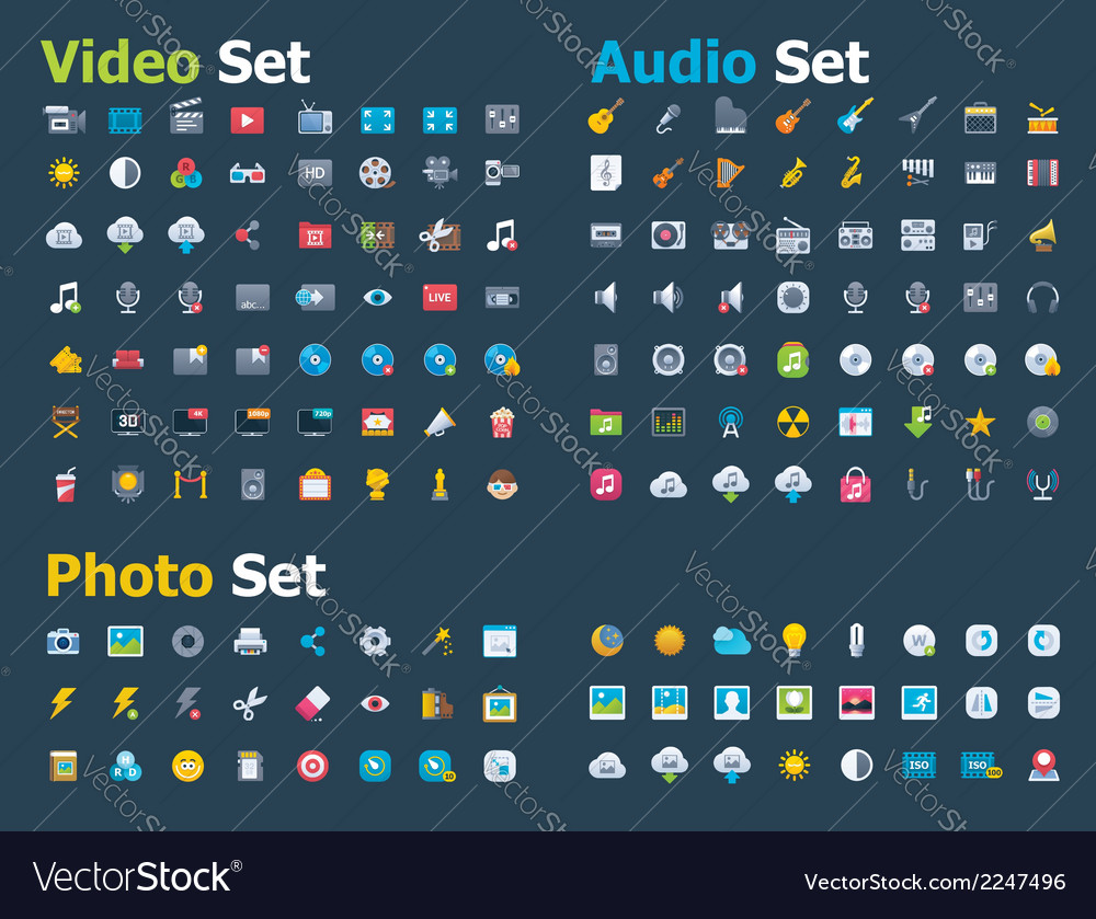 Photo video and audio icon set vector | Price: 1 Credit (USD $1)