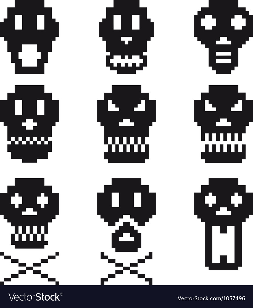 Pixel skulls icon set vector | Price: 1 Credit (USD $1)