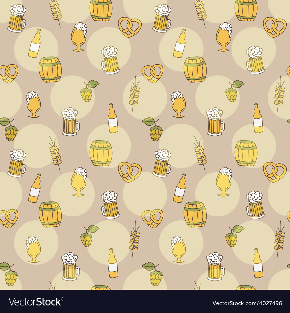 Simple beer seamless pattern doodle style vector | Price: 1 Credit (USD $1)