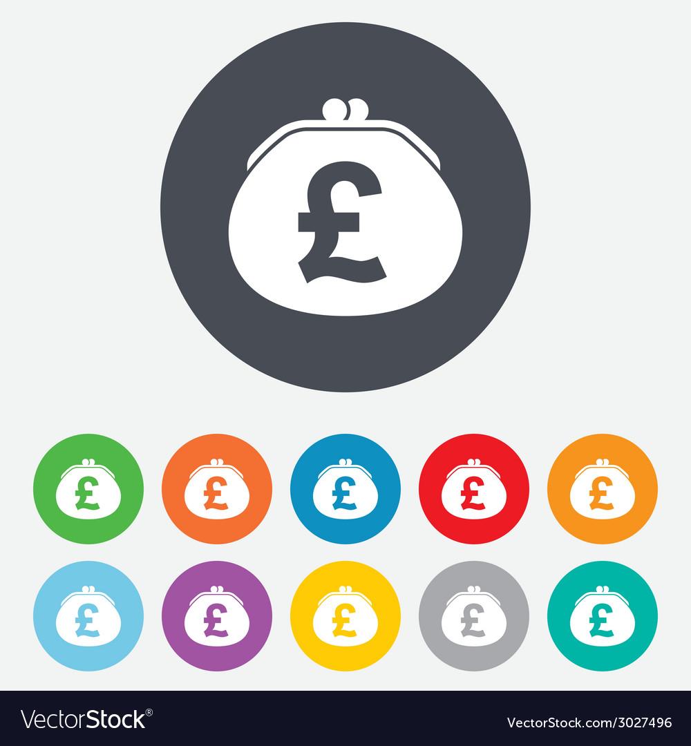 Wallet pound sign icon cash bag symbol vector | Price: 1 Credit (USD $1)