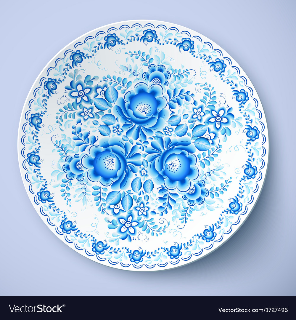 White plate with russian ornament vector | Price: 1 Credit (USD $1)
