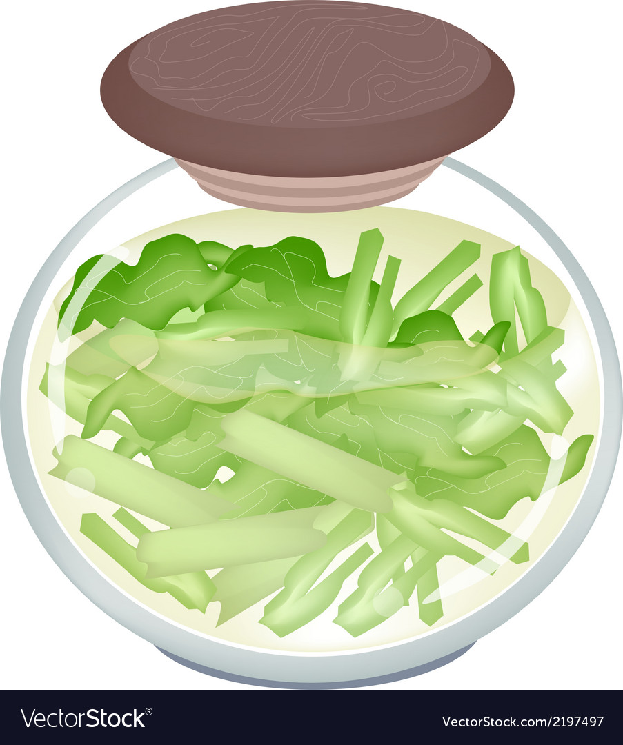 A jar of delicious pickled pok choi vector | Price: 1 Credit (USD $1)