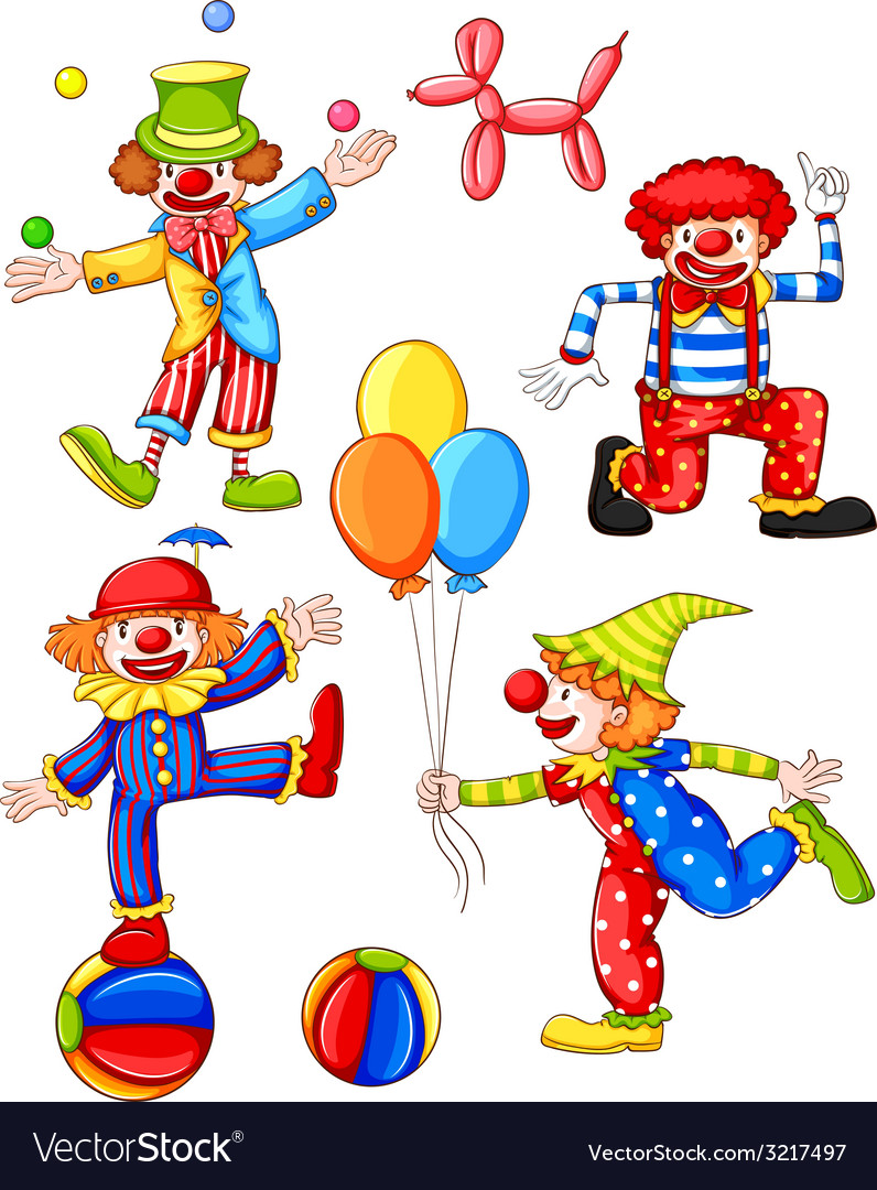 A simple coloured drawing of the four clowns vector | Price: 1 Credit (USD $1)