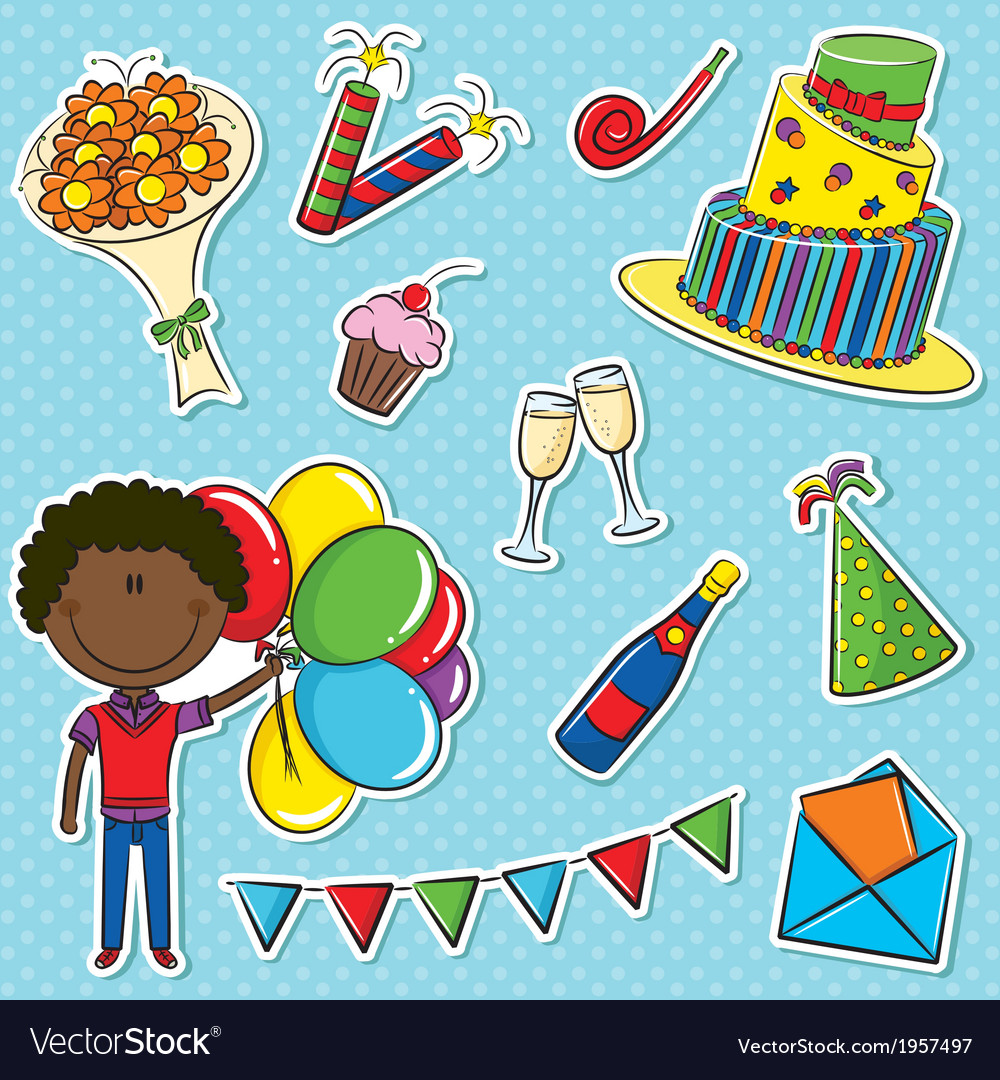African- american cute boy with color balloons and vector | Price: 1 Credit (USD $1)