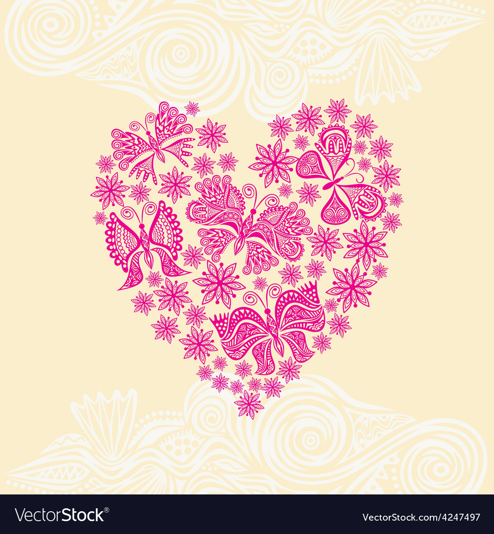 Beautiful flower and butterflies heart vector | Price: 1 Credit (USD $1)