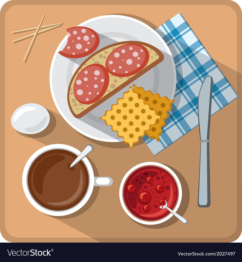 Breakfast on table vector | Price: 1 Credit (USD $1)