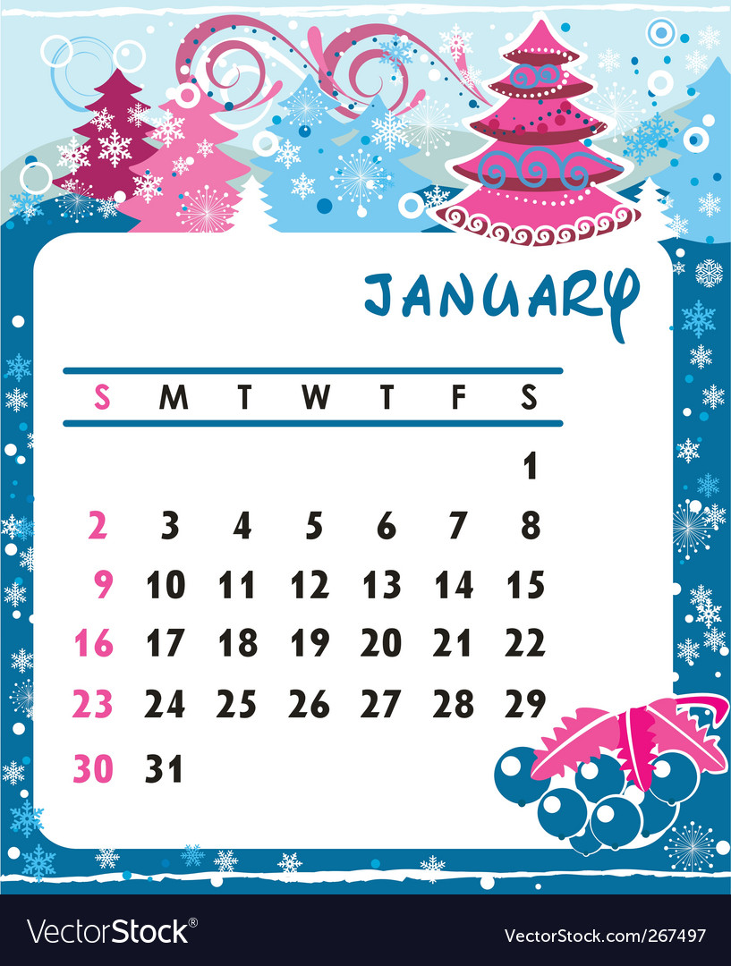 Calendar january vector | Price: 1 Credit (USD $1)