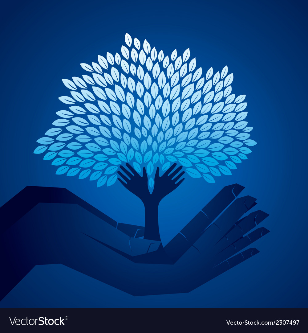 Creative tree on hand vector | Price: 1 Credit (USD $1)