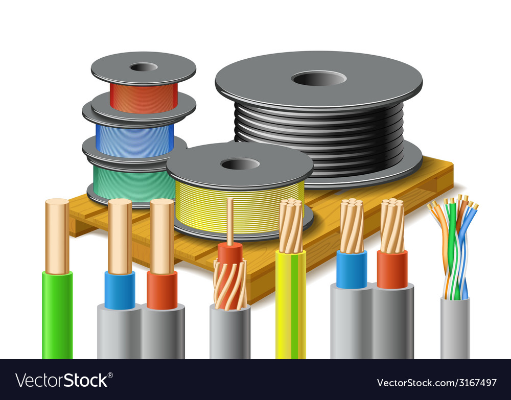 Different kinds of cables are on wooden pallet vector | Price: 1 Credit (USD $1)