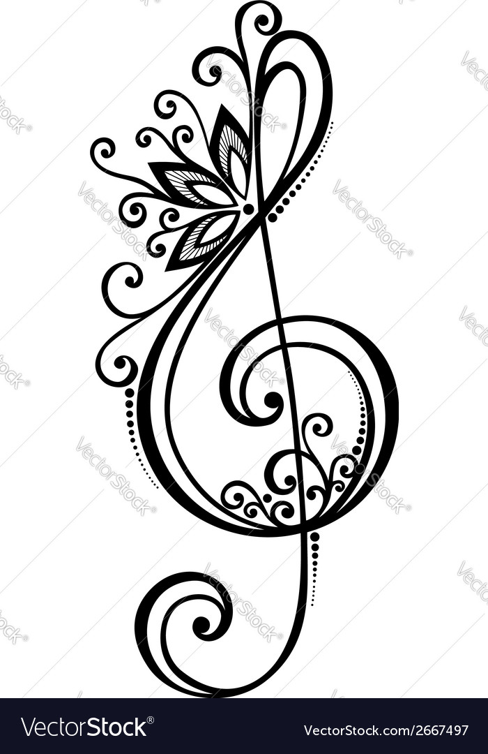 Floral decorative treble clef vector | Price: 1 Credit (USD $1)