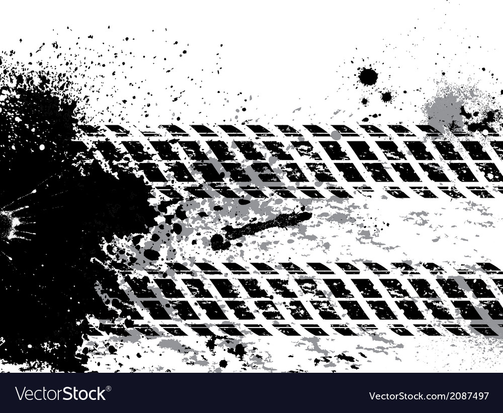 Grunge tire track background with blots vector | Price: 1 Credit (USD $1)