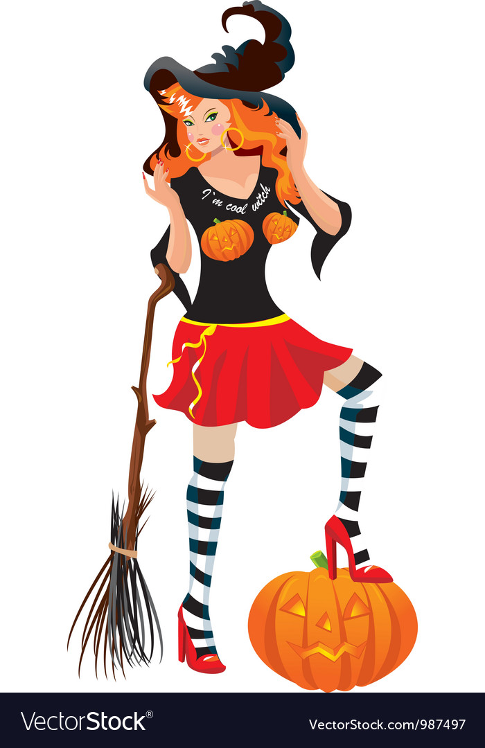 Halloween red haired witch vector | Price: 3 Credit (USD $3)