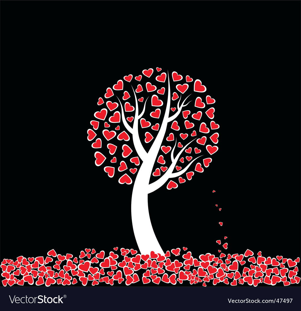 Love tree with dead leaves vector | Price: 1 Credit (USD $1)