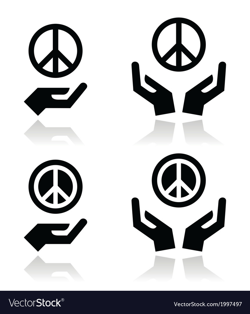 Peace sign with hands icons set vector | Price: 1 Credit (USD $1)