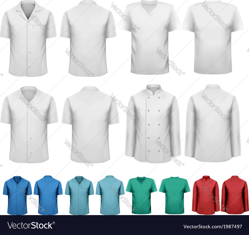 Set of white and colorful work clothes design vector | Price: 1 Credit (USD $1)