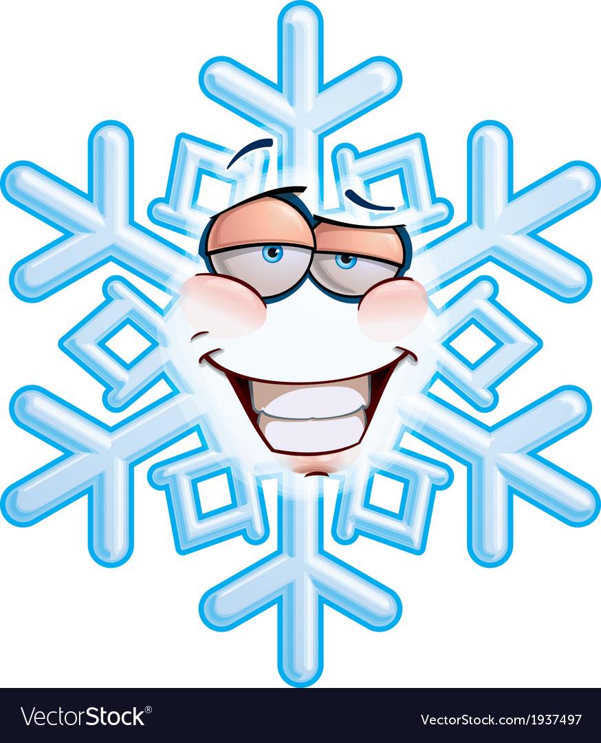 Snowflake emoticon smug vector | Price: 1 Credit (USD $1)