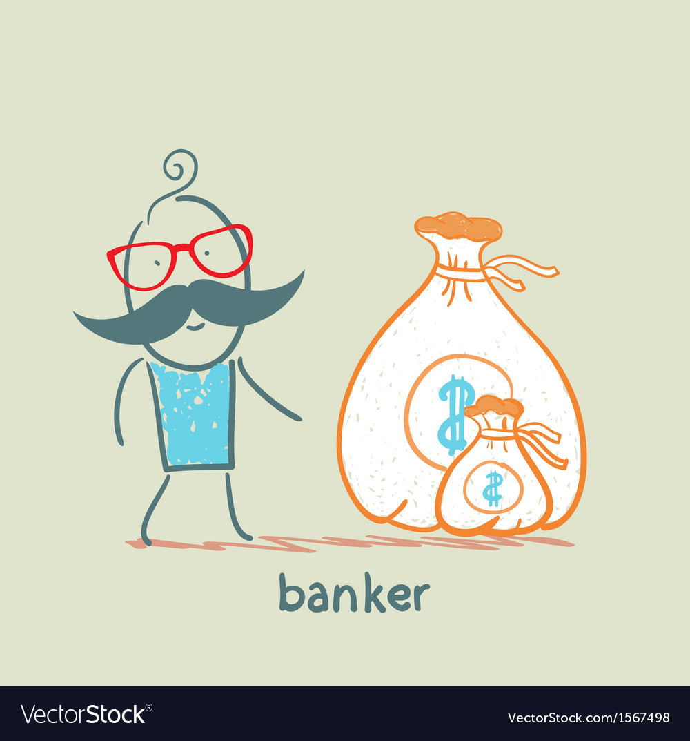 Banker with a sack of money vector | Price: 1 Credit (USD $1)