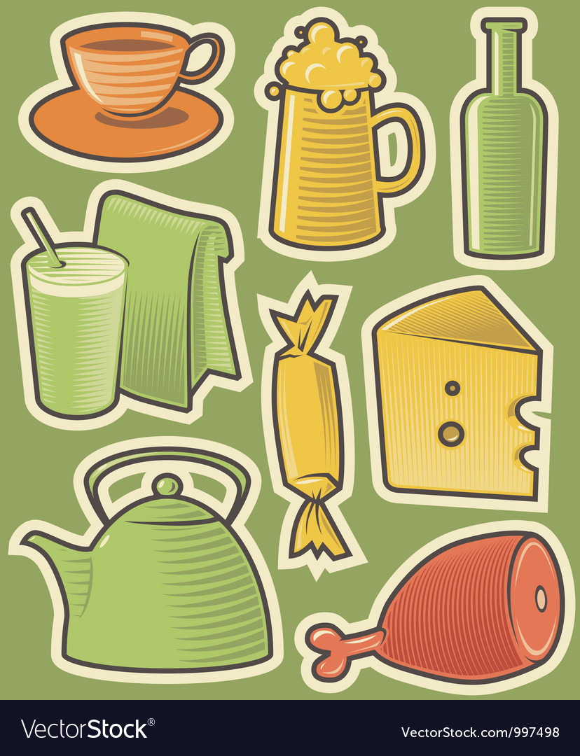Color icons with food vector | Price: 1 Credit (USD $1)