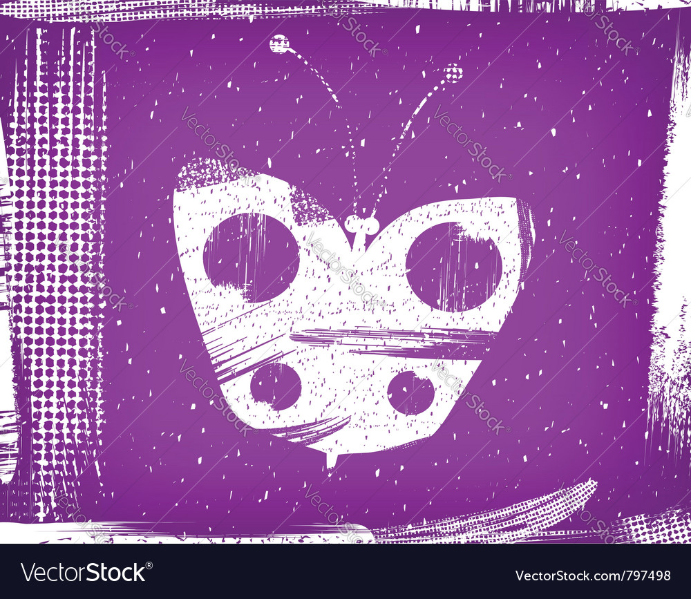 Dirty violet background with the butterfly grunge vector | Price: 1 Credit (USD $1)