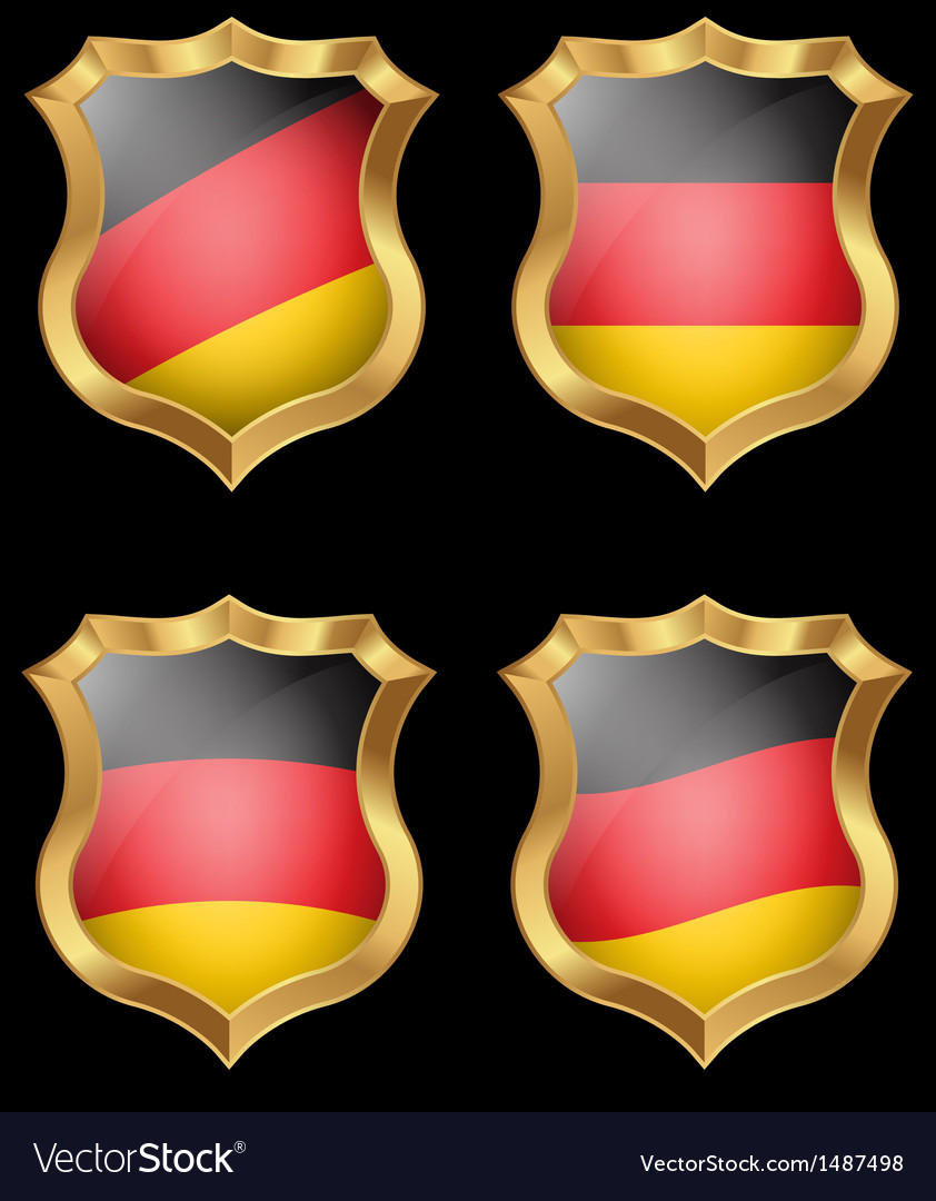 Germany flag on metal shiny shield vector | Price: 1 Credit (USD $1)