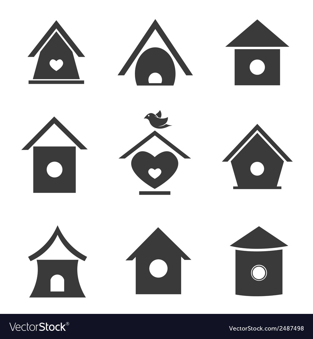 Group of bird houses vector | Price: 1 Credit (USD $1)