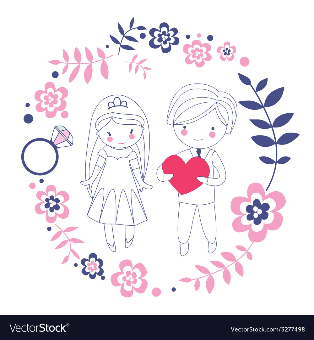 Loving just married couple vector | Price: 1 Credit (USD $1)