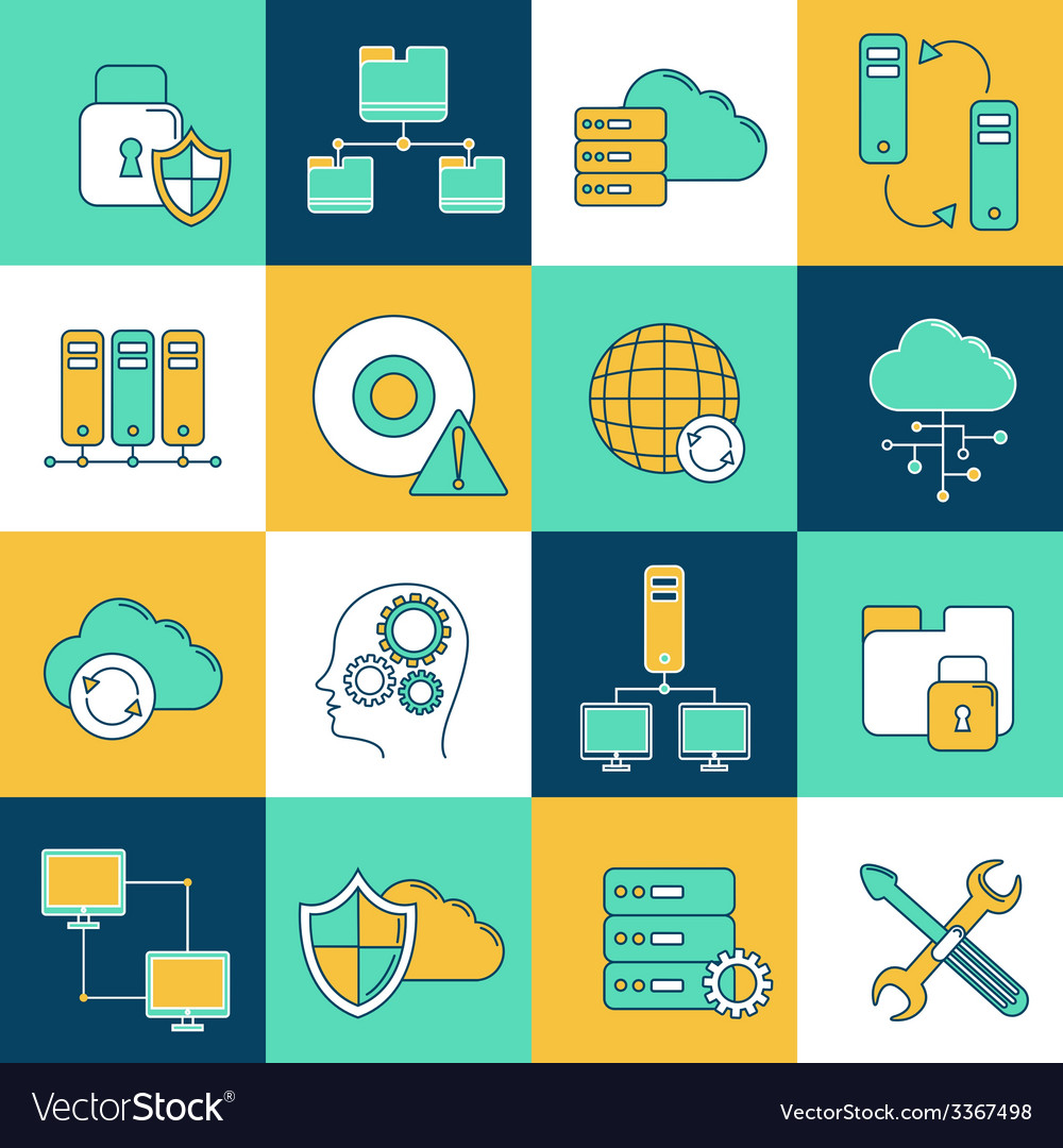 Network and server icon set vector | Price: 1 Credit (USD $1)