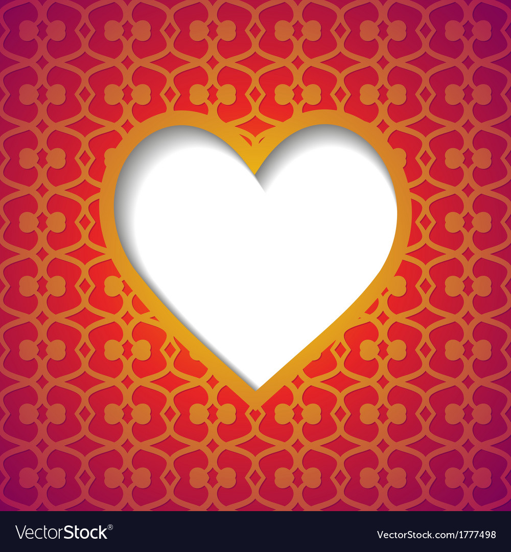 Patterned background with a cut heart vector | Price: 1 Credit (USD $1)