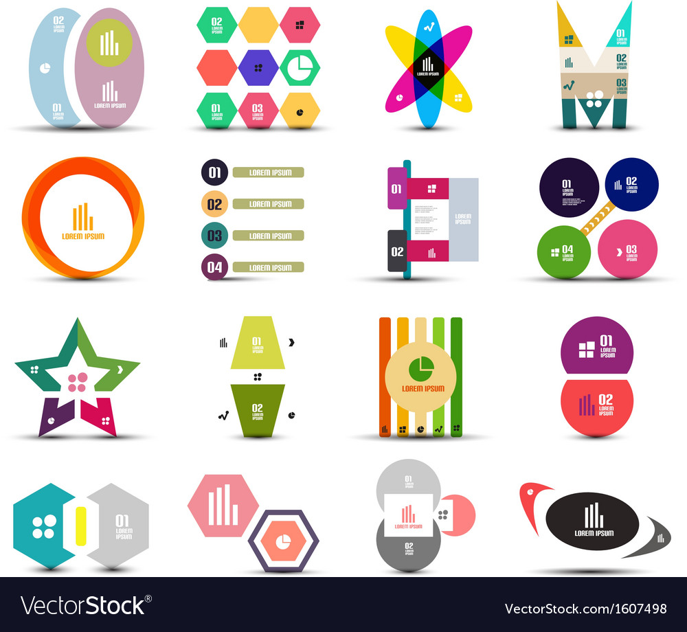 Set of infographic templates shapes elements vector | Price: 1 Credit (USD $1)