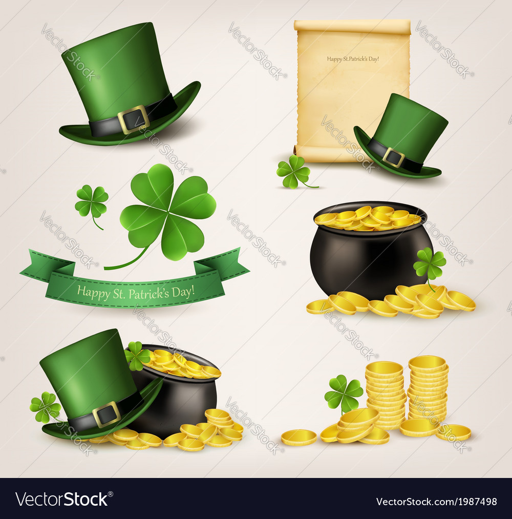 Set of st patricks day related icons vector | Price: 1 Credit (USD $1)