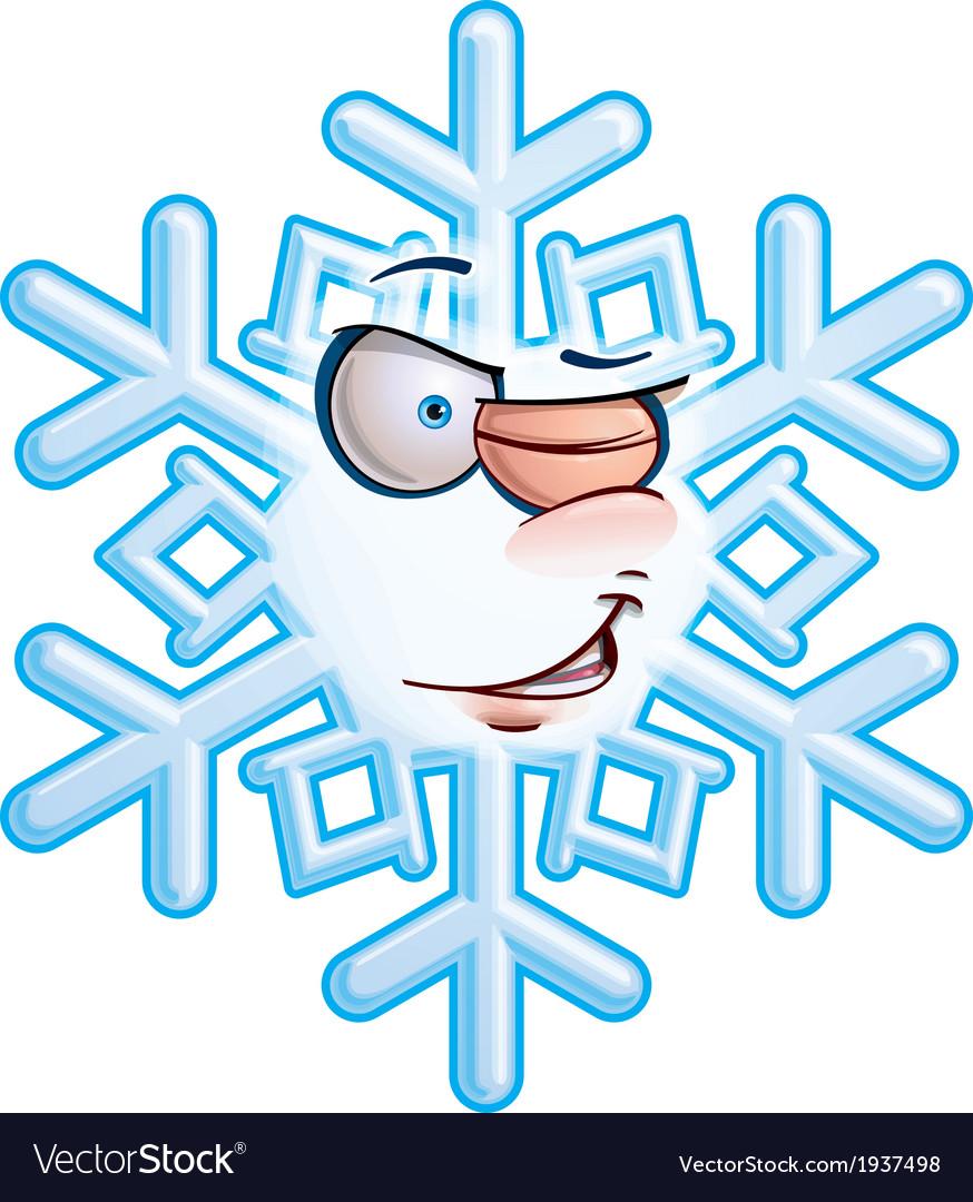 Snowflake emoticon wink vector | Price: 1 Credit (USD $1)